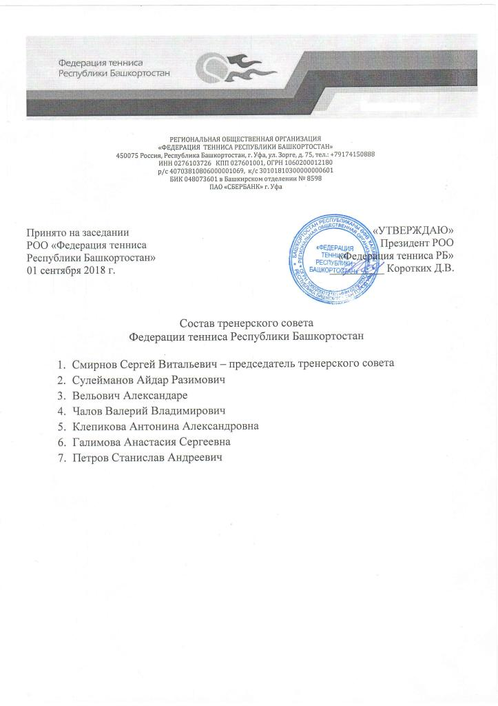 Состав тренерского совета